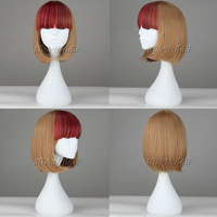 35cm short straight BOBO hair yellow mixed red lolita wig cosplay costume wigs party anime wigs synthetic fiber