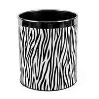 Free shipping  Colorful zebra print leather garbage bucket /stainless steel storage bucket /waste basket /household dustbin