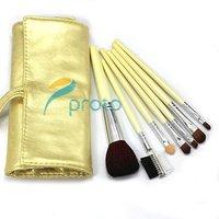 Wholesale 50set/lot !NEW 7 pcs make up Cosmetic Brush Set Makeup Brush Set with soft roll-up yellow case M0088XX