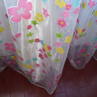 Pink double layer print curtain fashion window screening customize