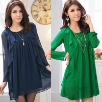 Big Size women's clothes mm plus size Large 2013 spring ruffle chiffon one-piece dress