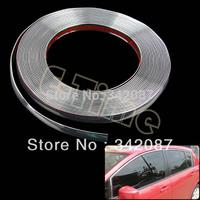 Wholesale 3pcs/lot 1.5cm x 15M DIY Decorative Rib Ribbon Wrap Roll Sticker for Car Decoration Strip Trim Line Decals Silver 9724