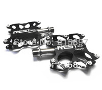 AEST CNC Titanium Spindle Ti Axle Bike MTB BMX Flat Platform Pedals One Pair Black Body