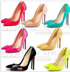 Free shipping ladies single shoes woman 2013 spring new pumps sexy Fashion red bottom high heels wedding shoes black nude ,C481(China (Mainland))