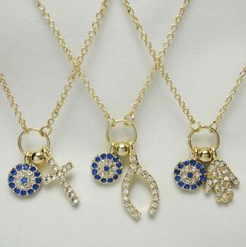 Lovely created diamonds crystal cross blue eye pendant  choker necklace