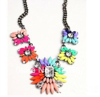 2013 Shourouk necklace new fashion multi color colorful crystal five pendant  gem stone mix match jewelry