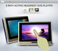 9 inch Active HD Headrest car monitors with 64bit Games+USB+SD+IR/FM transmitter with free shipping