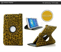 Fashion 360 Degree Luxury  Leopard Leather Protection Skin Sleeve Case for  Samsung  Galaxy Tab 3 8.0 (T310) HK Free Shipping