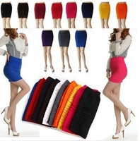 HK Free Shipping Girl Women Lady Mini Skirts Slim Fit Seamless Stretch Tight Fitted Candy Elastic hip A-line Skirt
