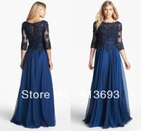 Blue Lace Chiffon Long 2013 Free Shipping Mother of the Bridal Dress