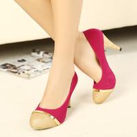 2013 new autumns shoes sweet round toe high-heeled shoes paillette colorant match fashion rose pumps fashion women's pumps