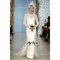13W034 Ruched Applique Tulle&Lace A-Line Brush Train Gorgeous Luxury Unique Brilliant Bridal Wedding Dress Free Shipping