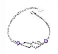 2013 new design 925 pure silver bracelet mattoon purple zircon pure silver bracelet female uy-b010