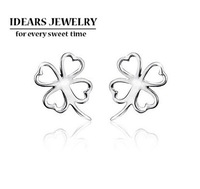 2013 new design female 925 pure silver jewelry four leaf clover stud earring pure silver stud earring female C