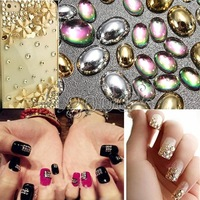 Wholesale 100pcs Nail Art Tips Design Metallic Flat Phone Cover Decorations Metal Oval Drill DIY Manicure Tips
