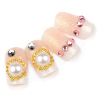 False nail bling pearl french style false nail patch sclerite bride nail art finished products