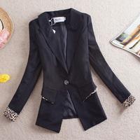 Free Shipping 2014 OL outfit blazer slim leopard print long-sleeve blazer outerwear female