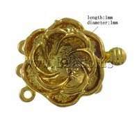 Free shipping!!!Brass Box Clasp,2013 womens european fashion, Flower, 24K gold plated, 3-strand, nickel, lead & cadmium free