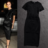 Free Shipping 2014 Women Brand Vintage Victoria  Beckham Summer Fashion Long Flash Dress,Sim Hip Twinset  Dress, Black S-XL