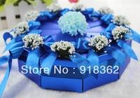 Hot!Free Shipping(50pcs/Lot)Good Quality,Western Style,Shining Jewelry Blue Paper Triangle Wedding Favor Box,w/Flower,Ribbon