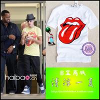 Justinbieber b t-shirt clothes the trend of the big tongue t-shirt
