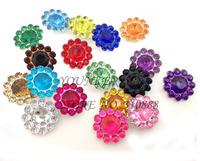 Free Shipping,12MM,500pcs/LOT, Mini Petite Round Sunflower Plastic Acrylic Rhinestone Gems MIXColors for flower center,SZ001