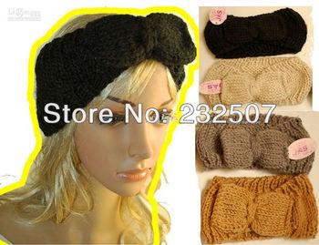 Big Bow Ear Warmer Crochet Headband Turban Head wrap Earwarmer CHOOSE COLOR Linen Ivory Vanilla Neutral Nature Gift