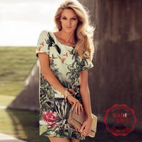 Free Shipping 2013 hot sale summer female casual Chic Europe STYLE One-Piece tropic printed qualities women's dress high quality