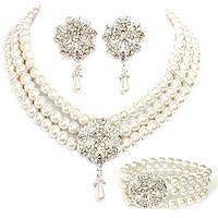 Vintage Triple Strands Pearls and Rhinestone Flower Choker Necklace Earring and Bracelet Set Pearls Bridal Set Wedding Set