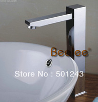 Contemporary Style Deck Mounted Chrome Finish Brass Sensor Bathroom Sink Faucets (High) Drop Shipping QH0116H