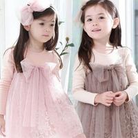 Kids Girls Tulle Dress Long Sleeves One Piece Dress Bow-knot Tutu dress 1-7Y Free shipping & Drop shipping XL150