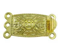 Free shipping!!!Brass Box Clasp,Vintage Jewelry, Rectangle, gold color plated, 3-strand, nickel, lead & cadmium free, 20x10x5mm