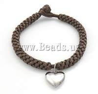 Free shipping!!!Fashion Bracelet Jewelry,Trendy, Nylon Cord, with Stainless Steel, coffee color, 16x15x5mm, 6.5mm