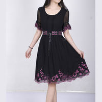 Women's 2013 spring and summer o-neck embroidered lacing type elegant one-piece dress silk one-piece dress