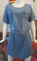 Denim skirt 2013 drawstring casual summer dress 100% cotton one-piece dress