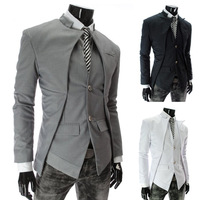 Free shipping 2013 top brand fashion men's suit jacket Slim asymmetrical design tuxedo jacket 3 color 4 size Business Suit