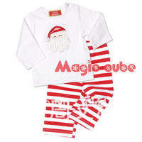 2013 NEW Brand Child Clothing Long Sleeve Christmas Santa T-shirt+Striped Pants Boy and Girl Set Autumn Free Shipping