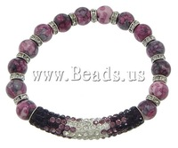 Free shipping!!!Rain Flower Stone Bracelet,Exaggerated, with rhinestone pave bead & Elastic Thread & Brass