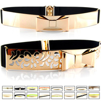 Fashion Waistband for Women Sequined Elastic Paper Tapes Hollow Out Bow Belts Metal Paillette