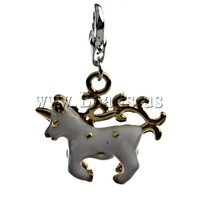 Free shipping!!!Zinc Alloy Lobster Clasp Charm,Statement, Sheep, enamel, nickel, lead & cadmium free, 35x24x7mm
