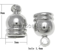 Free shipping!!!Brass End Cap,Jewelry Brand, platinum color plated, nickel, lead & cadmium free, 5x8mm, 4mm, Hole:Approx 1.4mm