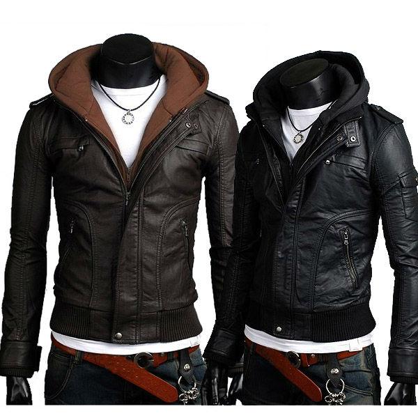 2013 Mens Designed HOT Jacket Blazer Coat Shirt PU Faux Leather Stylish Fashion Motorcycle 2 Color 4 Size 8967(China (Mainland))