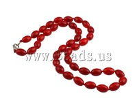 Free shipping!!!Coral Necklace,2013 Fashion, Natural Coral, brass lobster clasp, Oval, red, 9x6.50mm, Length:17 Inch