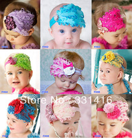 Free Shipping 10pcs/lot 18 colors 2013 New Feather Headbands for baby girls flower hairbands with rhinestone Christmas headwear