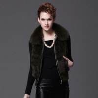 Fashion Fox Fur Collar Rabbit Fur Vest Women Fur Waistcoat Fur and Leather Patchwork Atumn and Winter Free Shipping