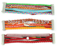 2013 New Product Hipanema Bracelets Brazilian Style Magnetic Clasp+Leather+Sand shell 3pcs/lot Free Shipping!