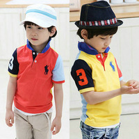 New children polo short sleeve T-shirts Kids fashion turn-down collar polo shirt Cotton material Wholesale 5pcs/lot Top quality
