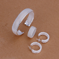 Free shipping wholesale 925 silver jewelry sets 925 fashion jewelry set mesh ring&bracelet&earrings Jewelry Sets SS249