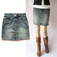 2013 classic natural water wash denim casual nostalgia skirt medium skirt bust skirt slim plus size brief