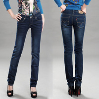 Micro 2013 elastic water wash Dark Blue straight jeans female trousers slim brief